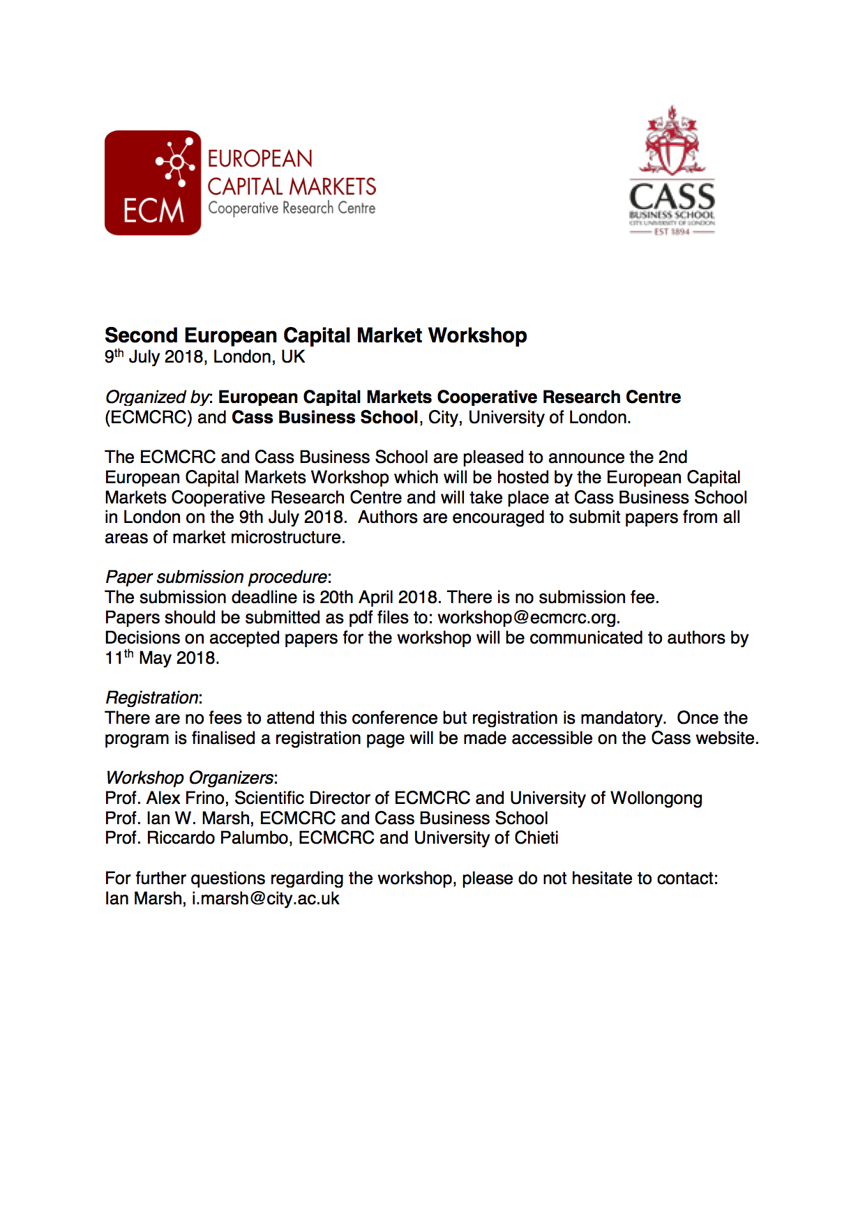 Second European Capital Market Workshop